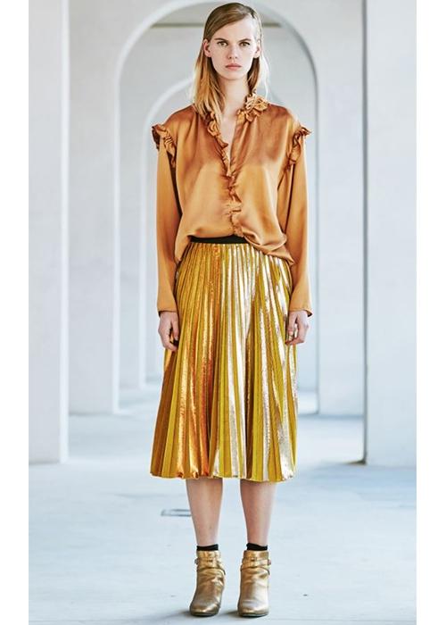 3897b074554 gold pleated skirt. Sale! rk …