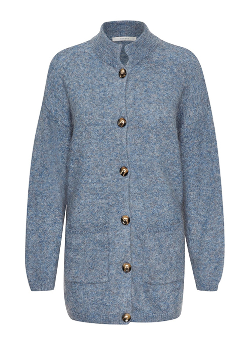 GESTUZ BLUE WOOL CARDIGAN