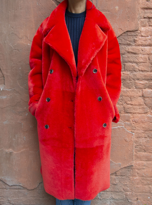 ENES RED MERINO COAT