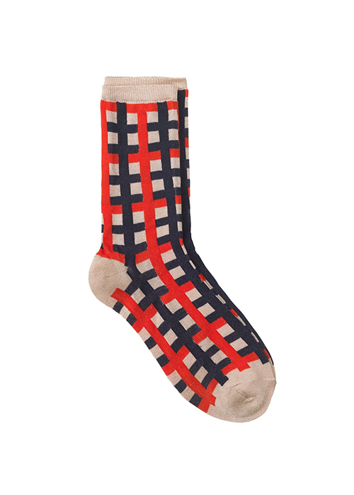 BECKSONDERGAARD RED CHECK SOCK