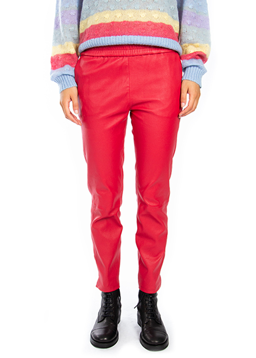 ENES RED LEATHER PANTS