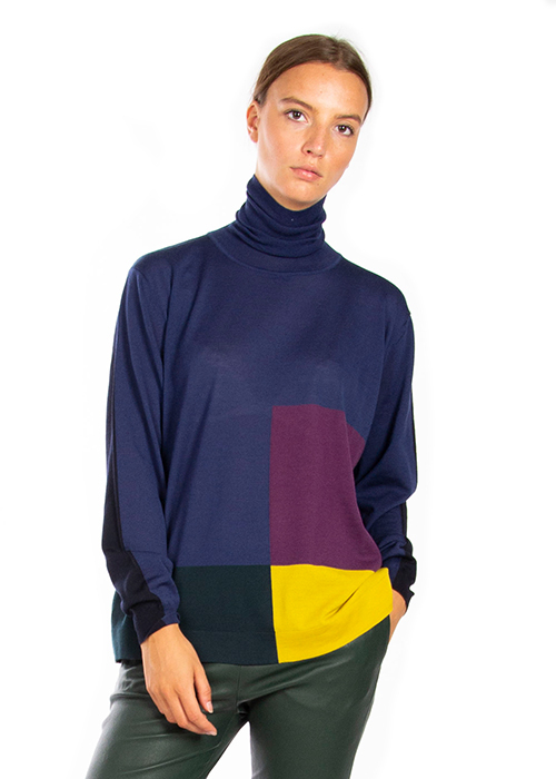 ROBERTO COLLINA BLUE TURTLE NECK