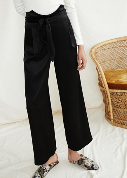NANUSHKA BLACK SATIN pants