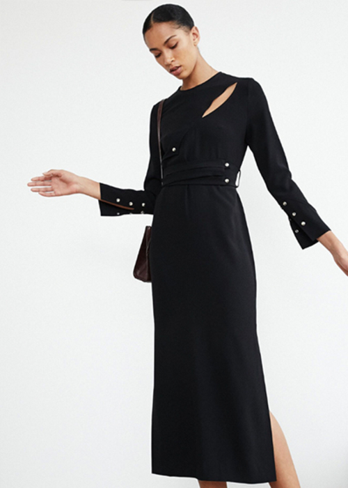 NANUSHKA BLACK SATIN DRESS