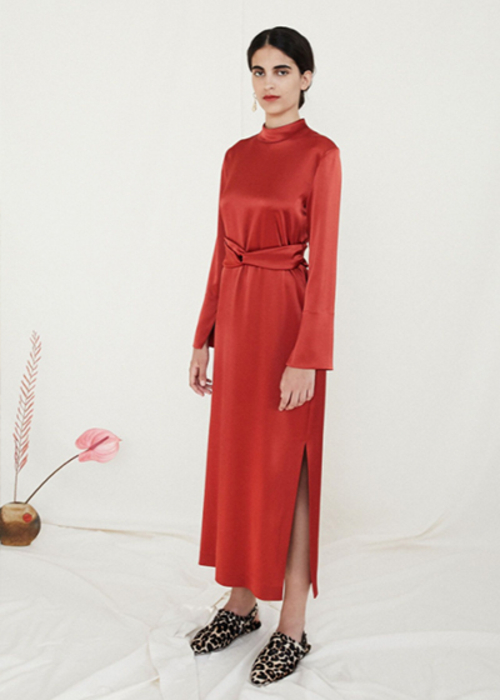 NANUSHKA RED SATIN DRESS