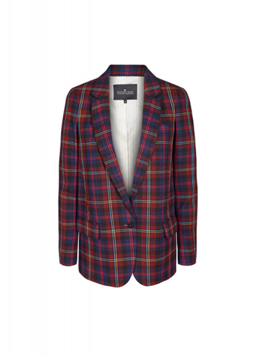 DESIGNERS REMIX CHECKED BORDEAUX BLAZER
