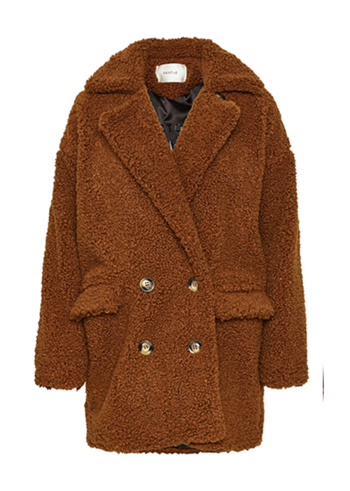 GESTUZ CAMEL TEDDY COAT