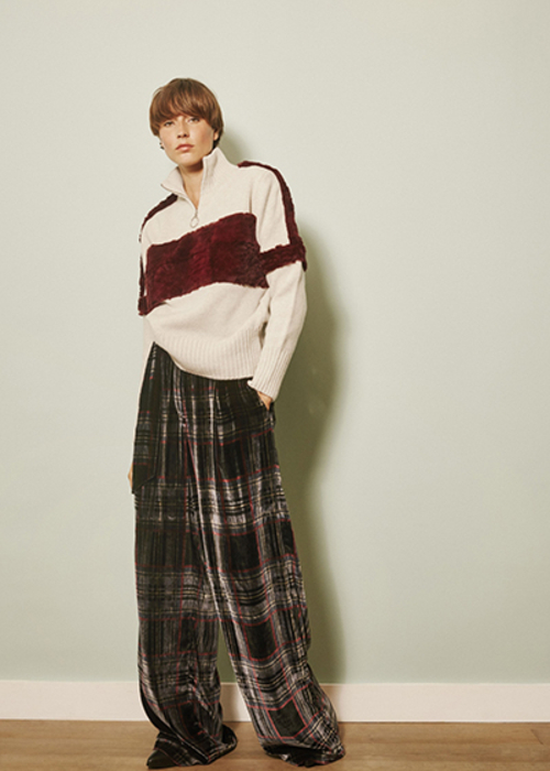 MAISON PERE WIDE CHECKED PANTS