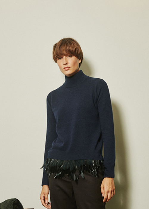 MAISON PERE PULLOVER WITH FEATHERS