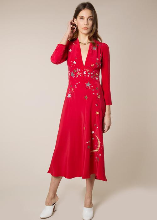 RIXO RED STAR DRESS