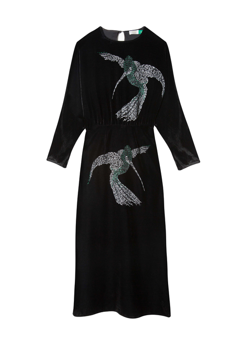 RIXO BLACK BIRD DRESS