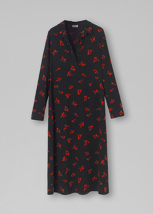 BY MALENE BIRGER BLACK DRESS WITH RED PRINT
