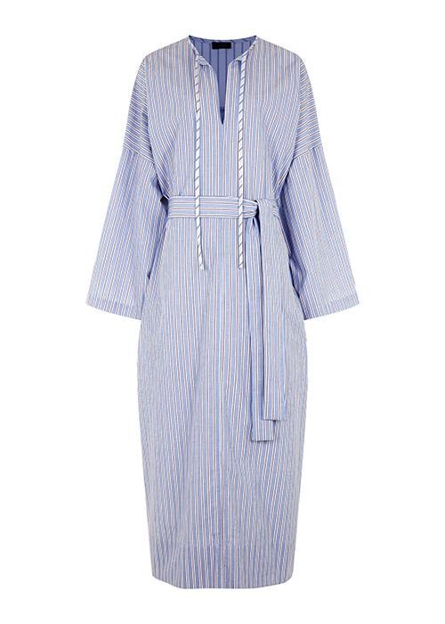 JOSEPH LONG BLUE STRIPED DRESS
