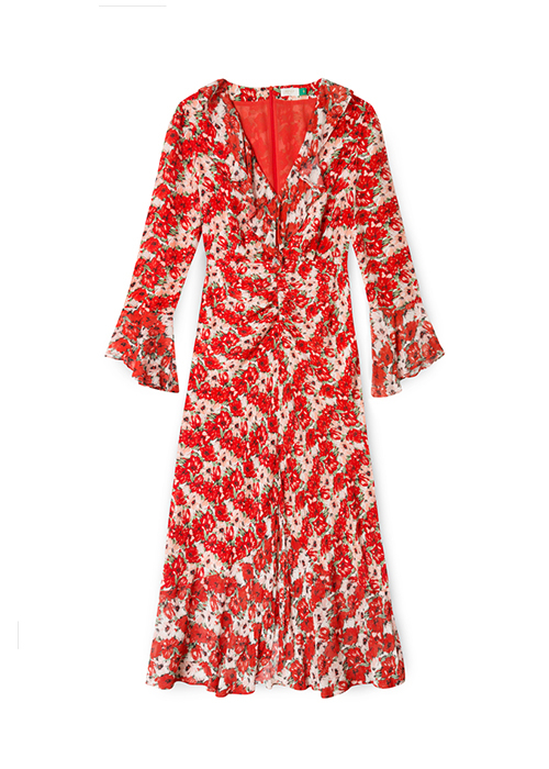 RIXO RED FLOWER DRESS
