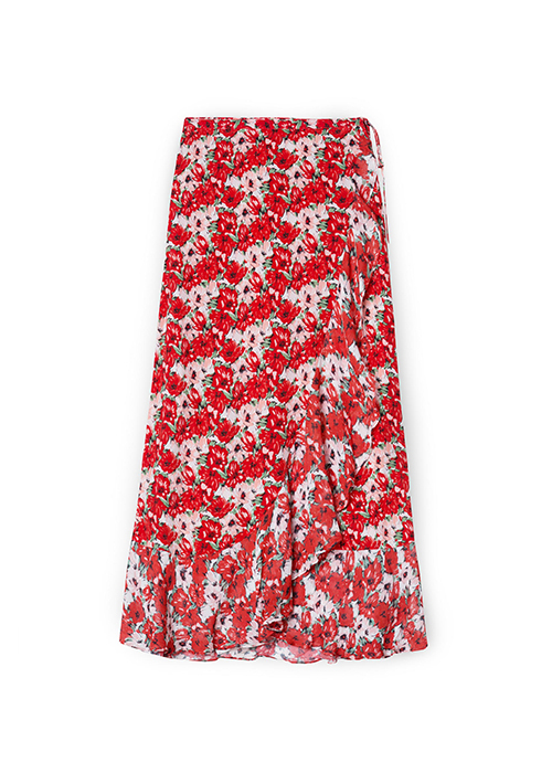 RIXO RED FLOWER SKIRT