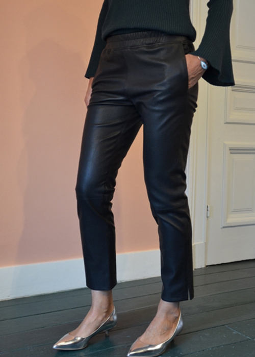 ENES BLACK RELAX LEATHER PANTS
