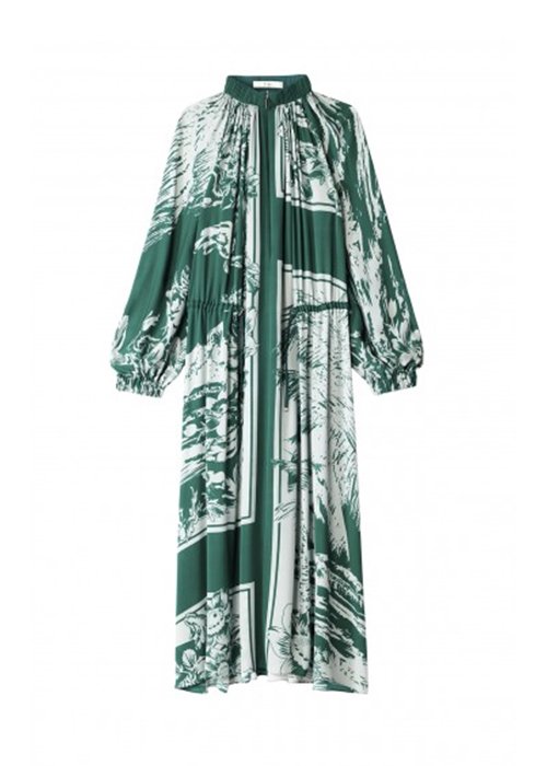 TIBI GREEN PRINTED SCARF DRESS