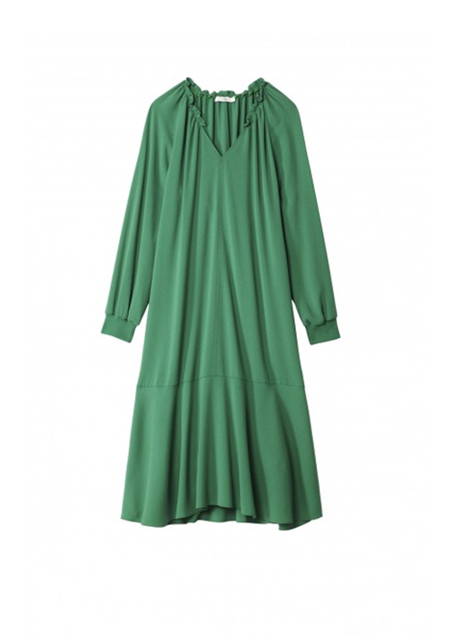TIBI GREEN RUFFLE DRESS