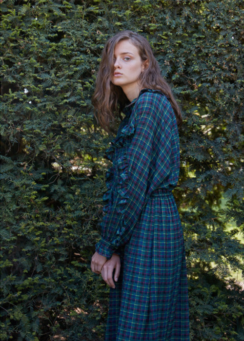 DESIGNERS REMIX GREEN CHECKED DRESS