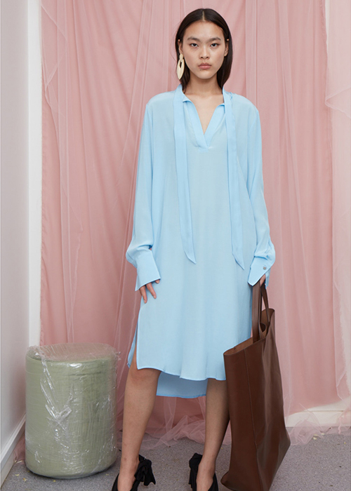 DESIGNERS REMIX BLUE SILK DRESS