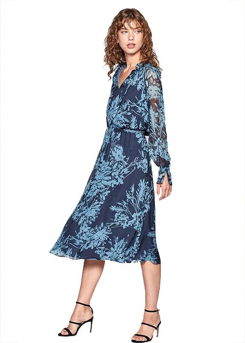 EQUIPMENT BLUE FLOWER DRESS