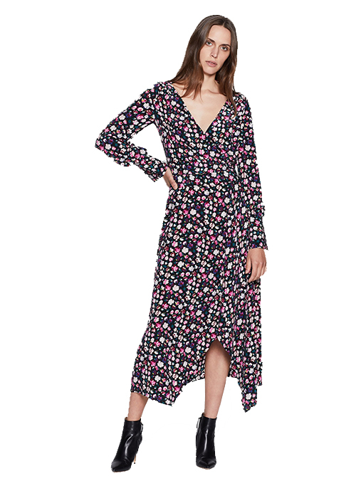EQUIPMENT BLACK FLOWER DRESS