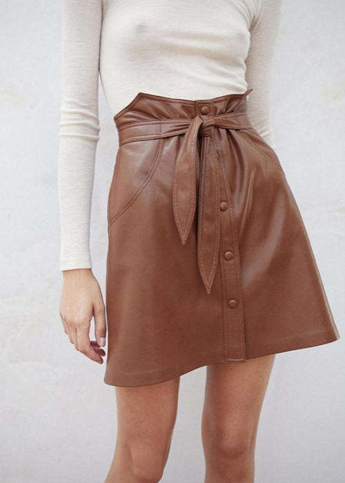 NANUSHKA BROWN VEGAN LEATHER SKIRT