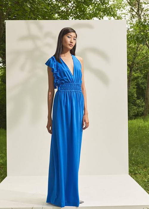 NUDE BLUE SILK DRESS