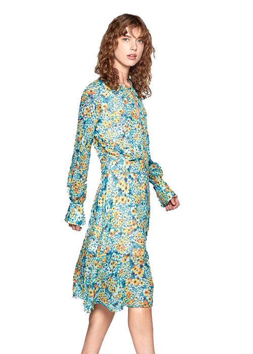 EQUIPMENT GREEN FLOWER DRESS