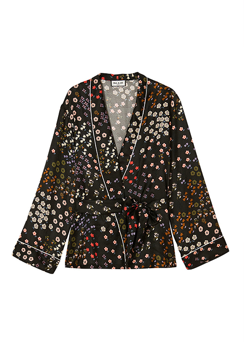 PAUL & JOE BLACK FLOWER KIMONO