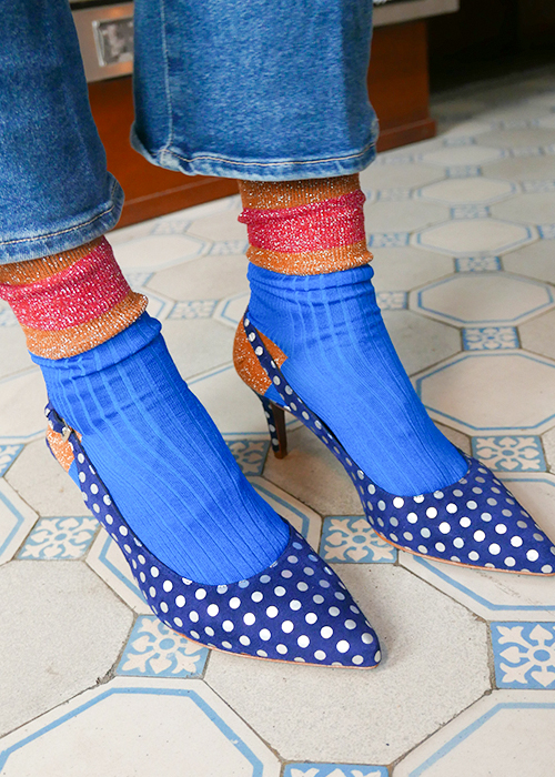 AUGUSTE BLUE DOTTED SLINGBACK