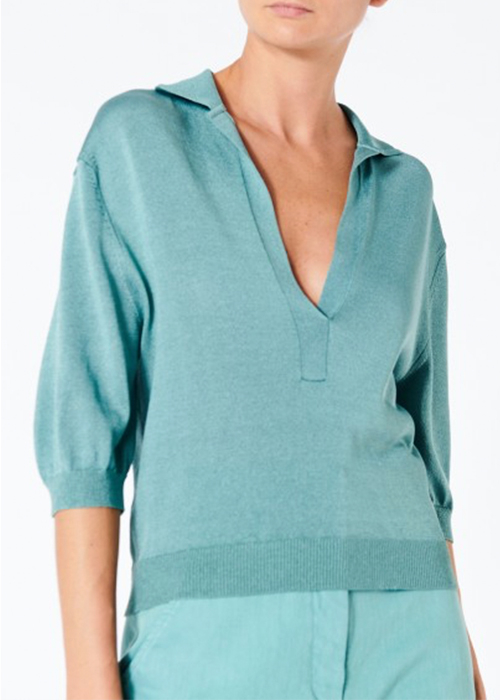TIBI MINT POLO SWEATER