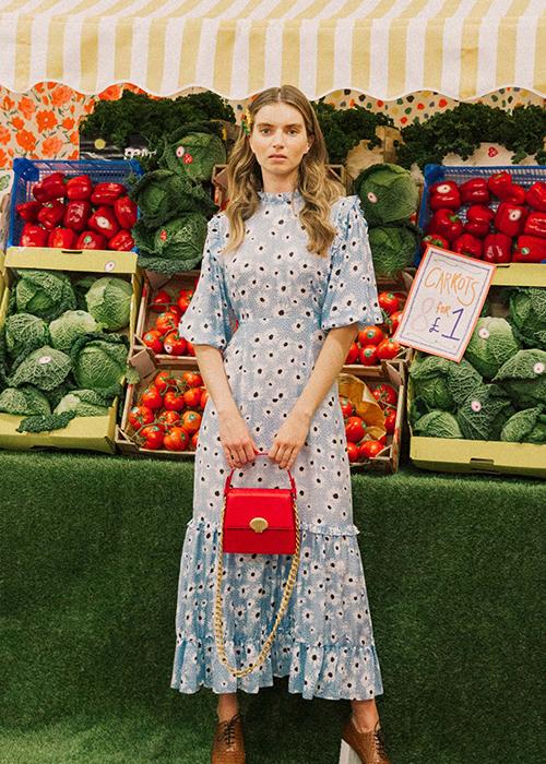 RIXO BLUE FLOWER DRESS