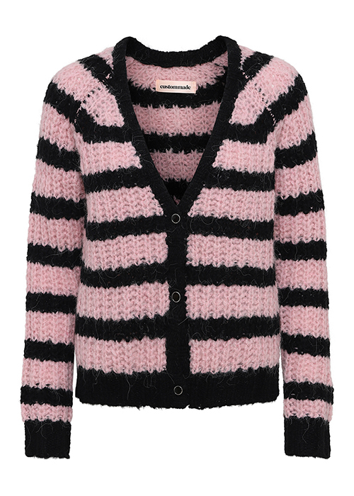 CUSTOMMADE PINK STRIPED CARDIGAN