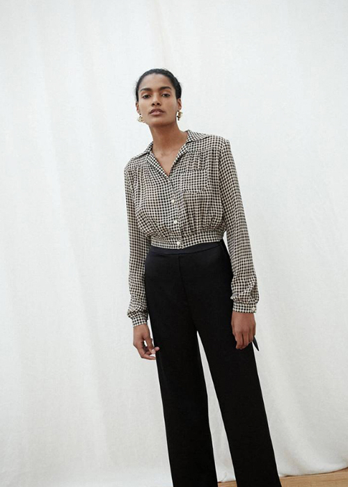 NANUSHKA CHECKED CROP BLOUSE