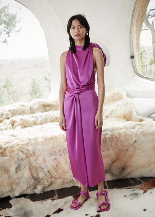 NANUSHKA PURPLE SATIN DRESS