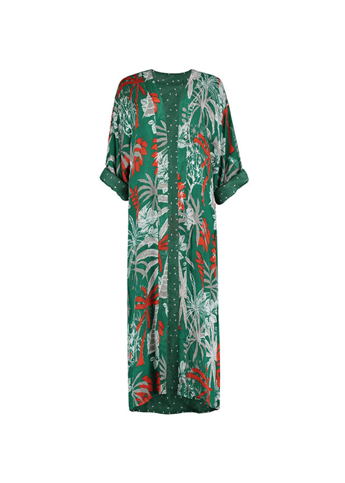 BIRDS ON THE RUN GREEN PRINTED KIMONO