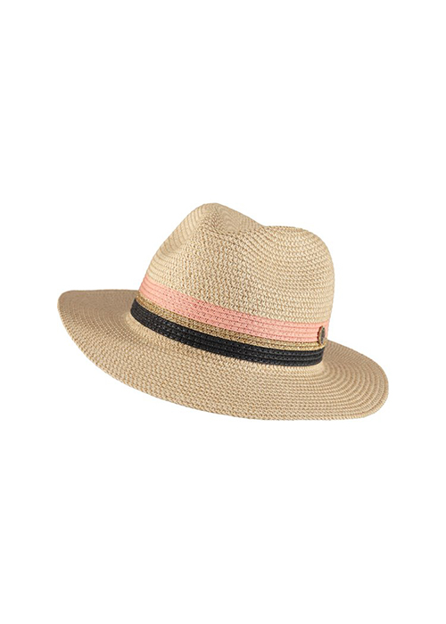 BIRDS ON THE RUN PAPERSTRAW HAT WITH COLORBLOCK
