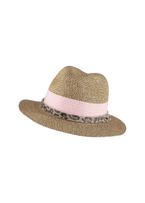 BIRDS ON THE RUN PAPERSTRAW HAT WITH LEOPARD