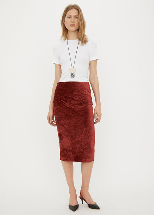BY MALENE BIRGER RED VELVET SKIRT