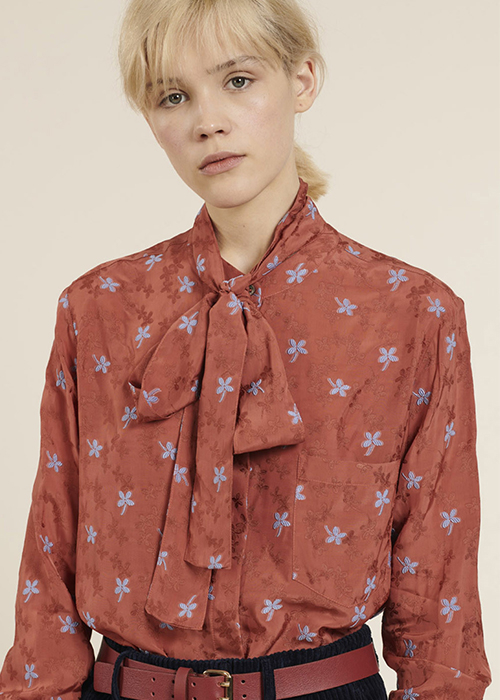 PAUL & JOE ORANGE PRINTED BLOUSE