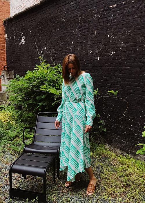 RIXO GREEN PRINTED CHECK DRESS