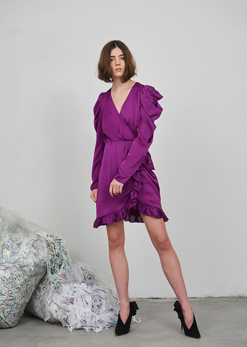 DESIGNERS REMIX FUCSIA WRAP DRESS
