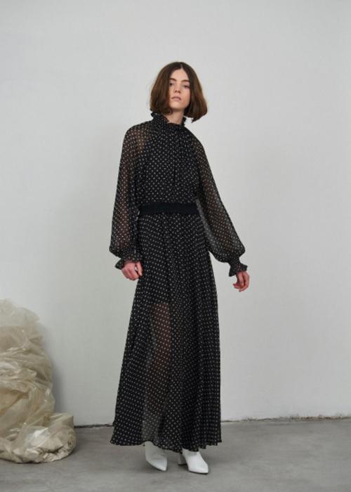 DESIGNERS REMIX LONG BLACK/WHITE DRESS