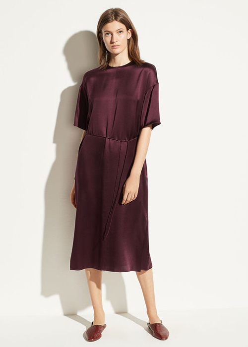 VINCE BURGUNDY SATIN DRESS