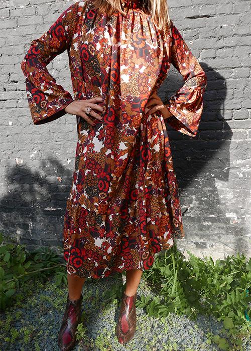 BRIAN DALES PRINTED ORANGE DRESS
