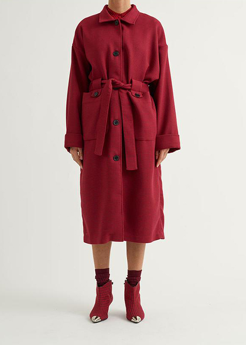 CUSTOMMADE RED CHECKED TRENCHCOAT