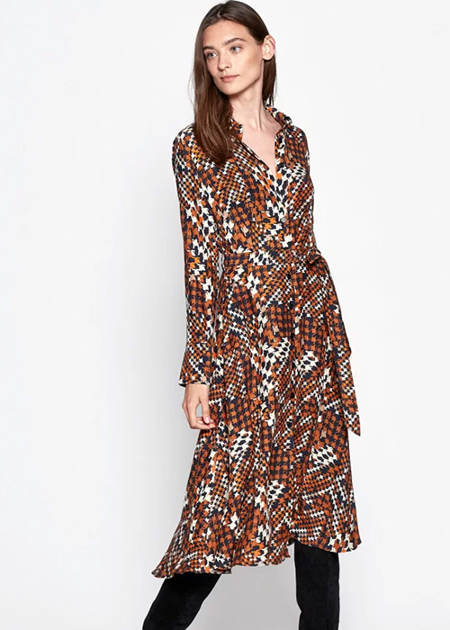 EQUIPMENT BROWN GEOMETRIC PRINTED DRESS