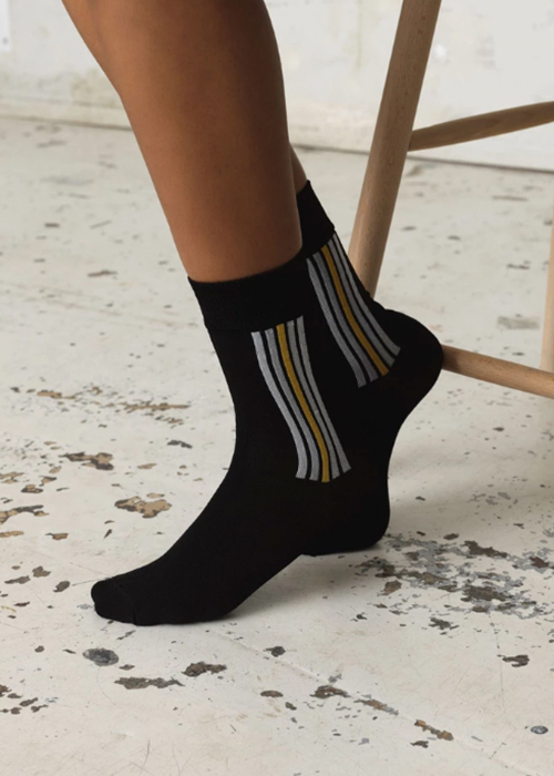 BECKSONDERGAARD BLACK SPORTY SOCKS