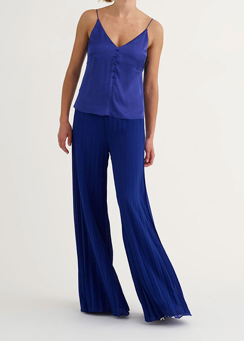 CUSTOMMADE BLUE PLEATED TROUSERS